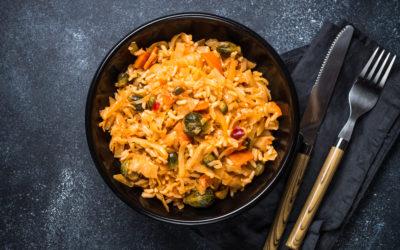 Spitzkohlpfanne mit Reis
