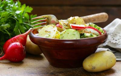 Bohnen-Kartoffelsalat mit Budwig Birnen Dip